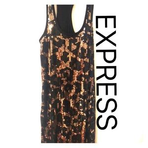 Express dress ⭐️Leopard gold black sequin ⭐️ sz sm